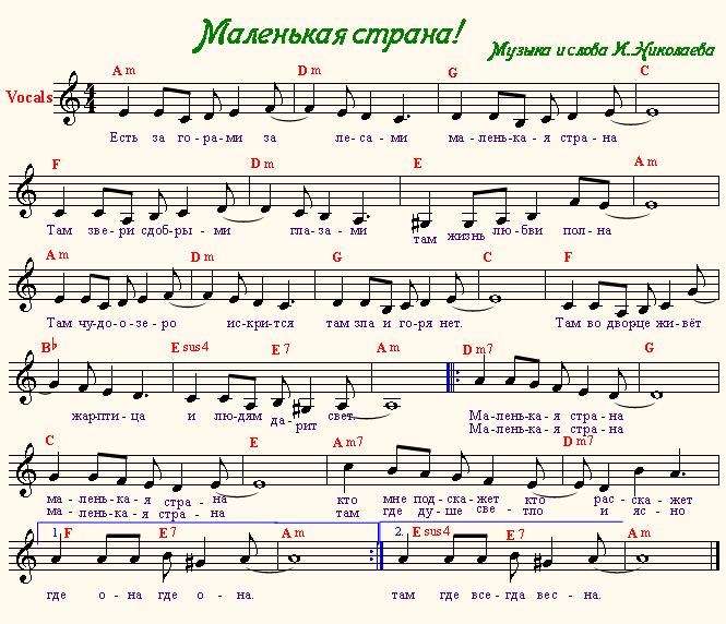 Маленькая страна (Наташа Королёва) | на гитаре