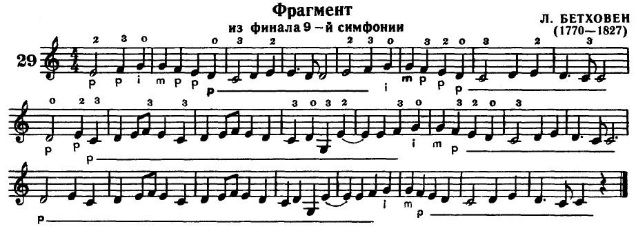 Фрагмент 9 симфонии Бетховена. Упражнение
